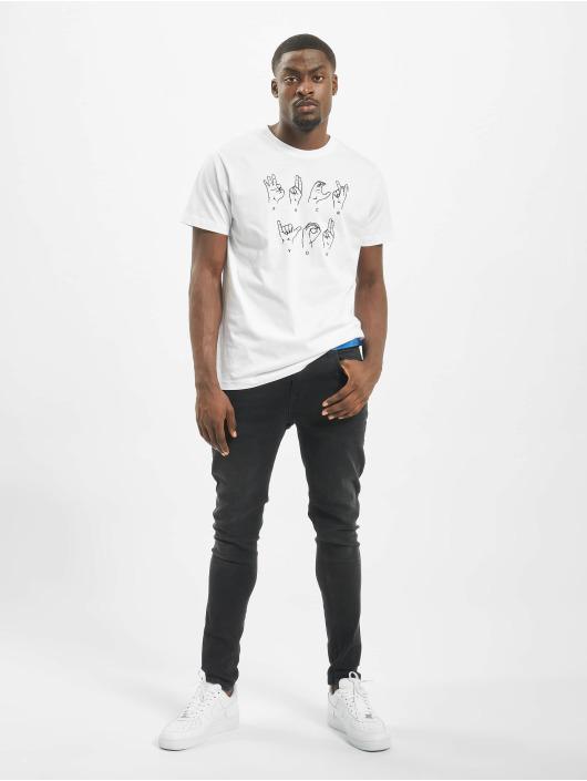 Mister Tee T-Shirt Fu Sign Language blanc