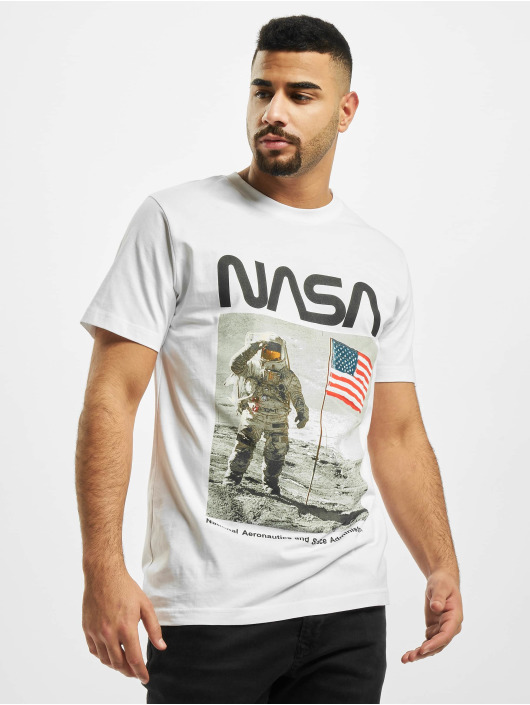 Mister Tee T-Shirt NASA Moon Man blanc