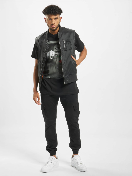 Mister Tee T-Shirt Pistol Rose noir