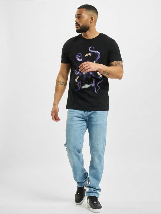 Mister Tee T-Shirt Octopus Sushi schwarz