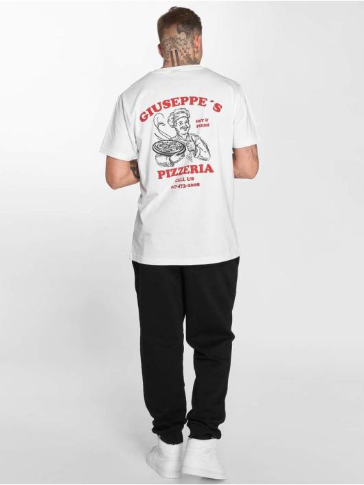 Mister Tee T-Shirt Giuseppes Pizzeria weiß