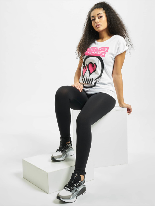 Mister Tee T-Shirt Ladies Five Seconds Of Summer Skull white