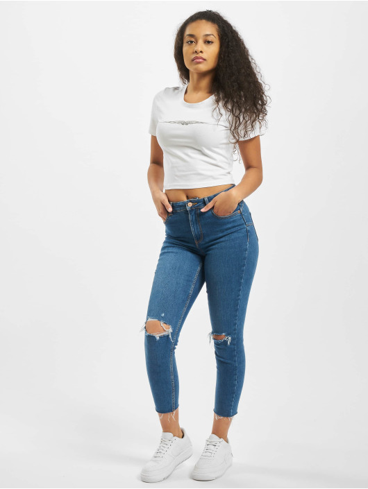 Mister Tee T-Shirt Ladies Tribal Cropped white