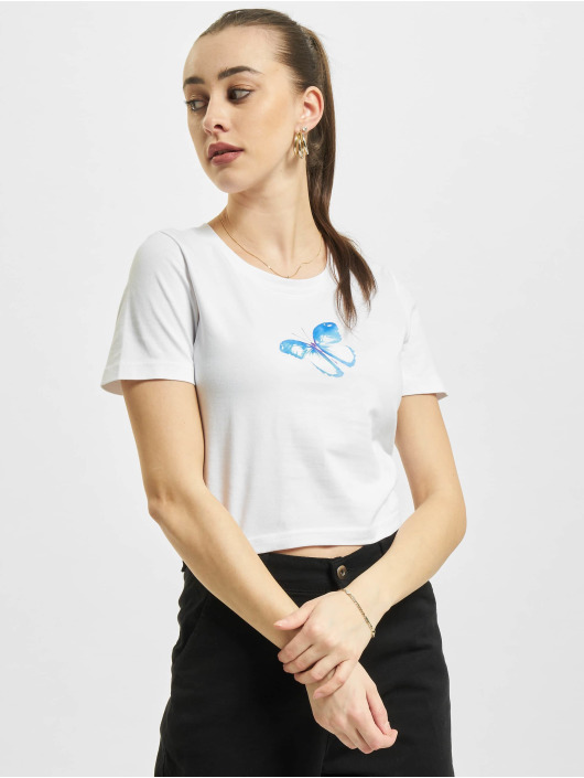 Mister Tee T-Shirt Butterfly Cropped white