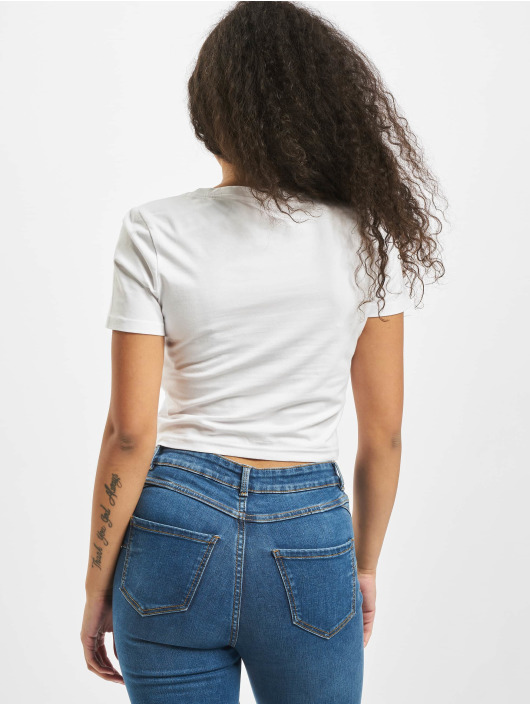 Mister Tee T-shirts Ladies Flames Cropped hvid