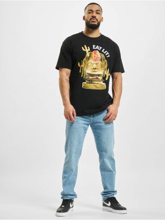 Mister Tee T-shirts Eat Lit Oversize sort