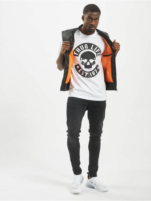 Mister Tee T-Shirty Thug Life Skull bialy