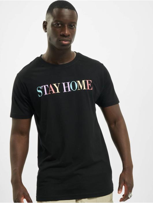 Mister Tee T-Shirty Unisex Stay Home Wording czarny