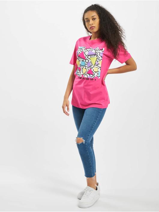 Mister Tee T-Shirty Ladies Geometric Retro pink