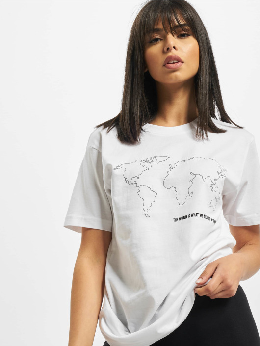Mister Tee T-skjorter World Map hvit