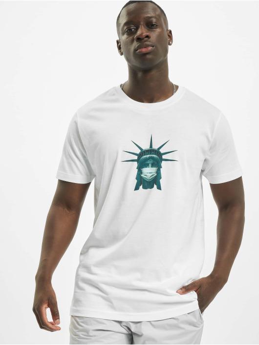 Mister Tee T-skjorter Liberty Mask hvit