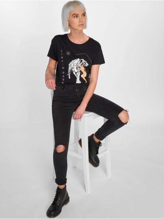 Mister Tee T-skjorter Ladies Linkin Park Tiger Box svart
