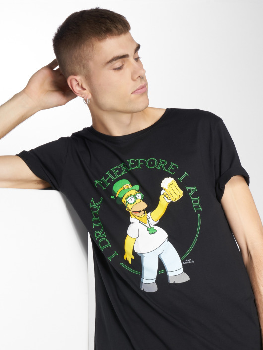 Mister Tee T-skjorter Simpsons Homer Drink svart