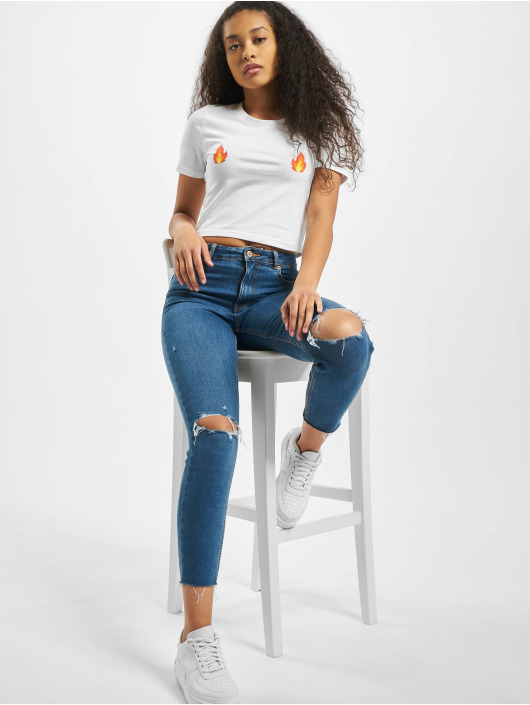 Mister Tee Tops Ladies Flames Cropped bialy