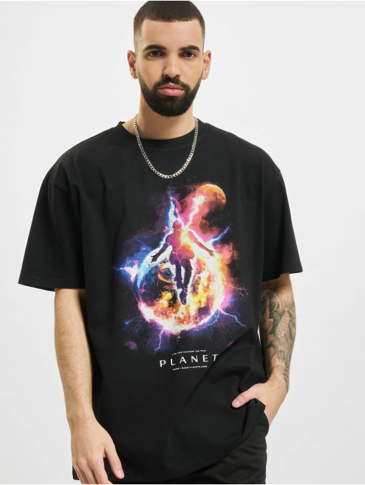 Mister Tee Upscale T-paidat Electric Planet Oversize musta