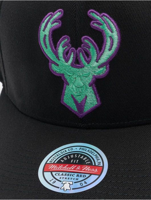 Mitchell & Ness Snapback Cap Nitro Wave Redline Milwaukee Bucks black