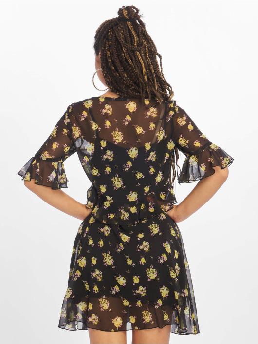 NA-KD Šaty Ruffle Floral èierna