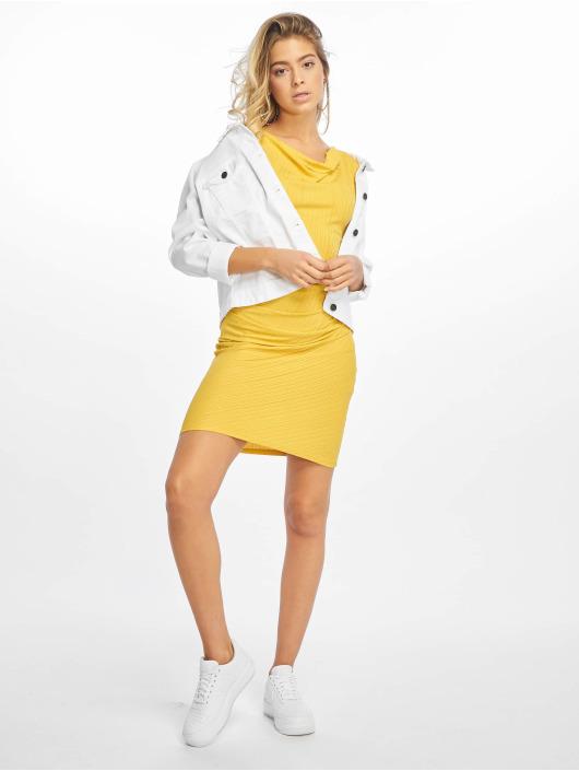NA-KD Šaty Drape Midi žlutý