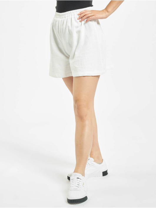 NA-KD Šortky Elastic Waist Linen Look biela