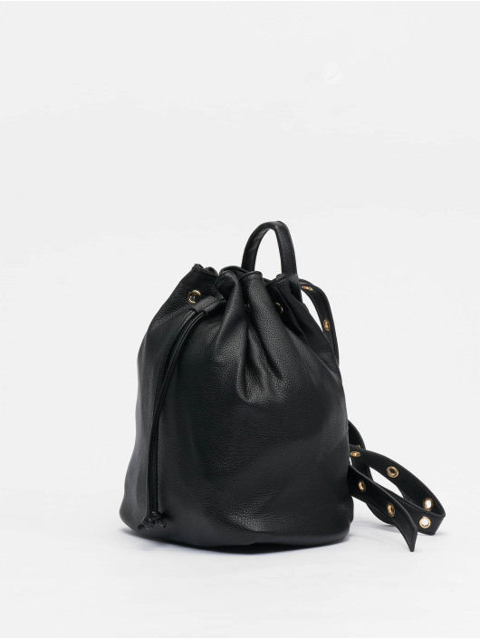 NA-KD Backpack Faux Leather Drawstring black