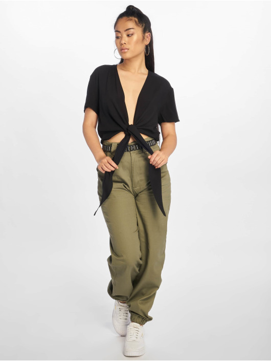 NA-KD Blúzky/Tuniky Tie Front Cropped èierna