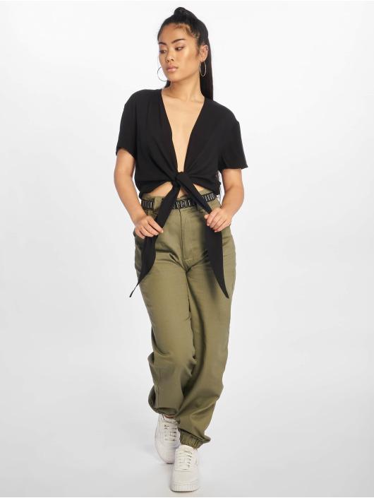 NA-KD Blus/Tunika Tie Front Cropped svart