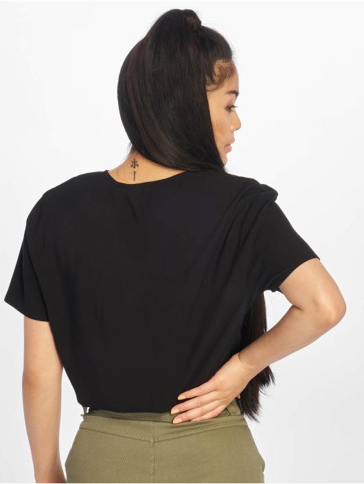 NA-KD Bluse Tie Front Cropped schwarz