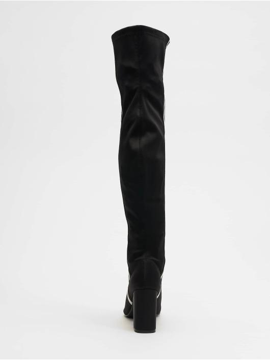 NA-KD Boots Striped Overknee zwart