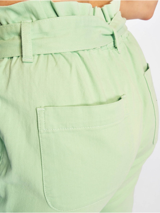 NA-KD Cargo Nohavice Paper Bag zelená