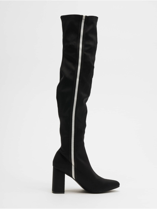 NA-KD Chaussures montantes Striped Overknee noir