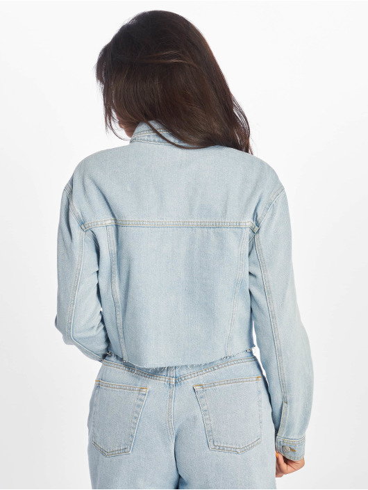 NA-KD Denim Jacket Raw Hem blue