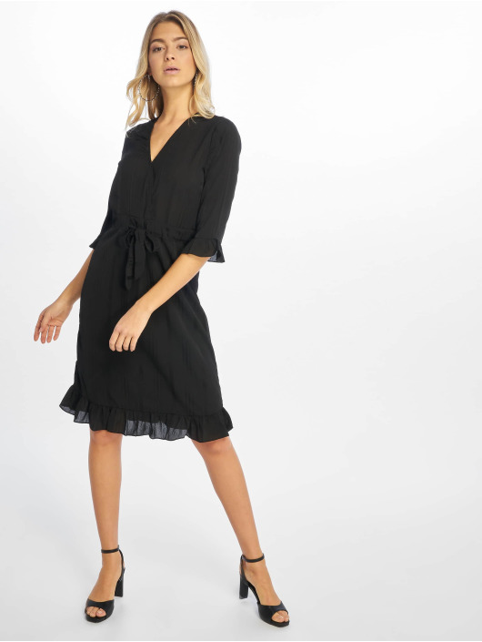 NA-KD Dress Small Flower Wrap black