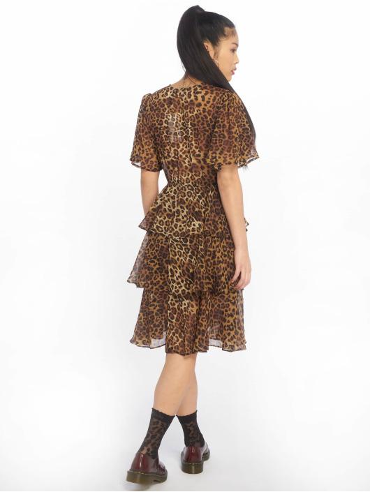 NA-KD Dress Flounce Triple Layer brown