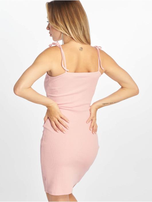 NA-KD Dress Ribbed Button pink
