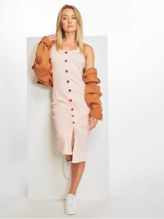 NA-KD Dress Ribbed Button Up pink