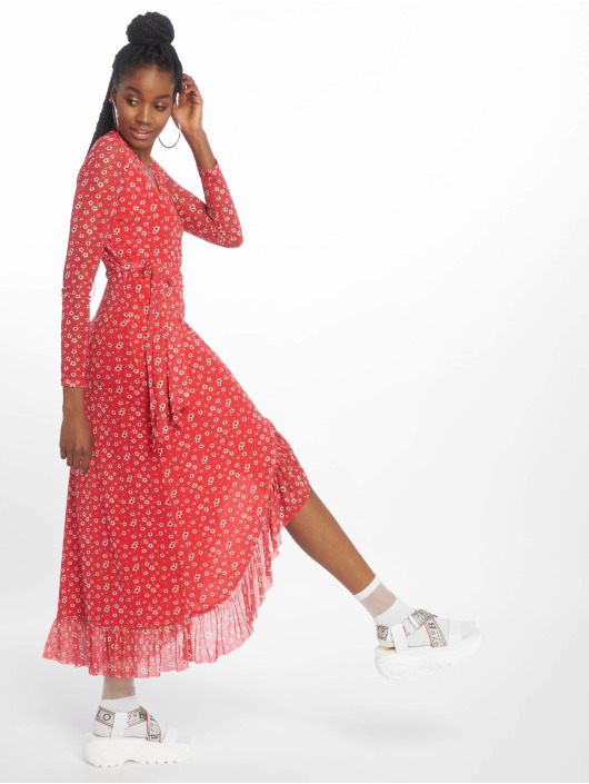 NA-KD Dress Mesh Wrap red