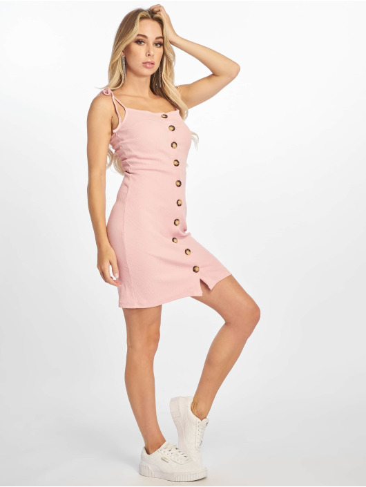 NA-KD Dress Ribbed Button rose