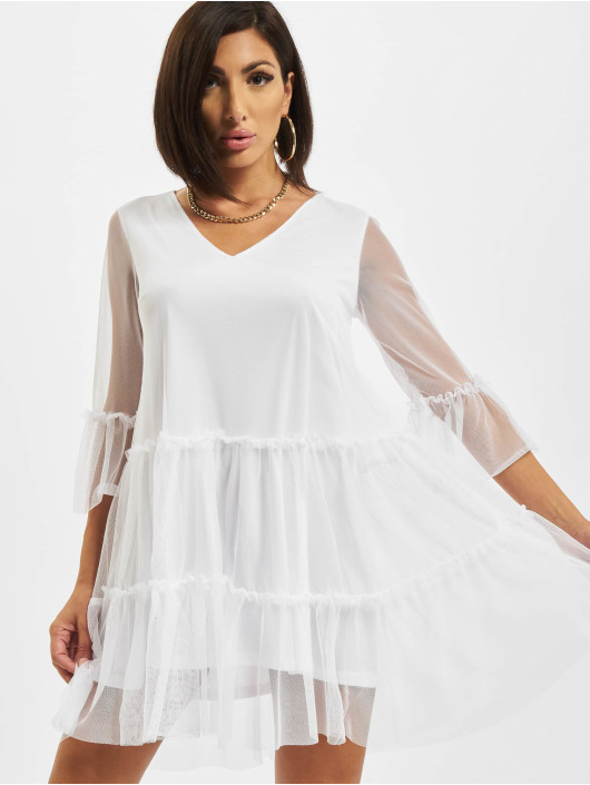 NA-KD Dress Ruffle Mesh white