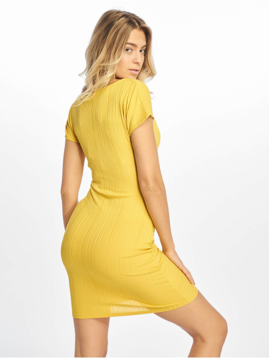 NA-KD Dress Drape Midi yellow