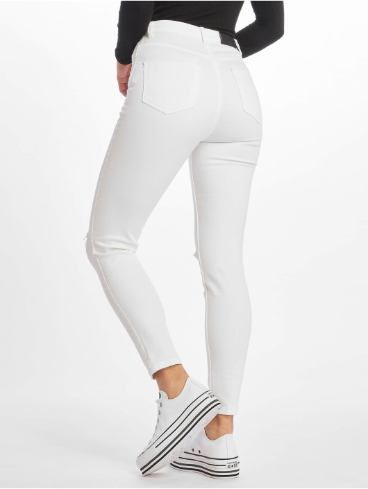 NA-KD Jean skinny High Rise Knee Rip blanc