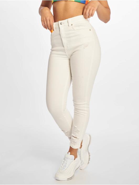 NA-KD Jean skinny Chewed Hem blanc