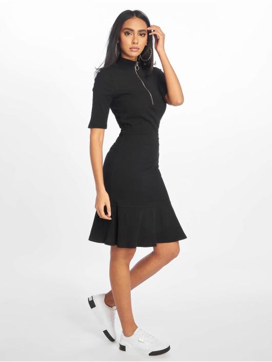 NA-KD jurk Rib Frill zwart
