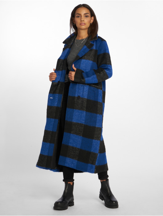 NA-KD Kabáty Double Breasted Checked modrý