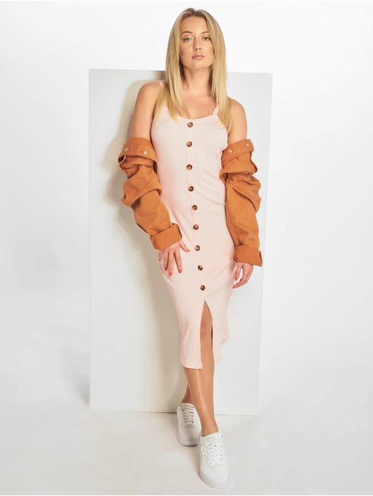 NA-KD Kleid Ribbed Button Up pink