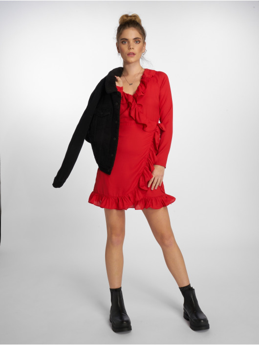 NA-KD Kleid Long Sleeve Wrap Frill rot