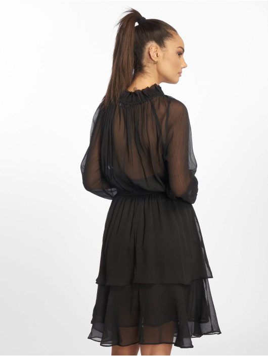 NA-KD Kleid High Neck Frill schwarz