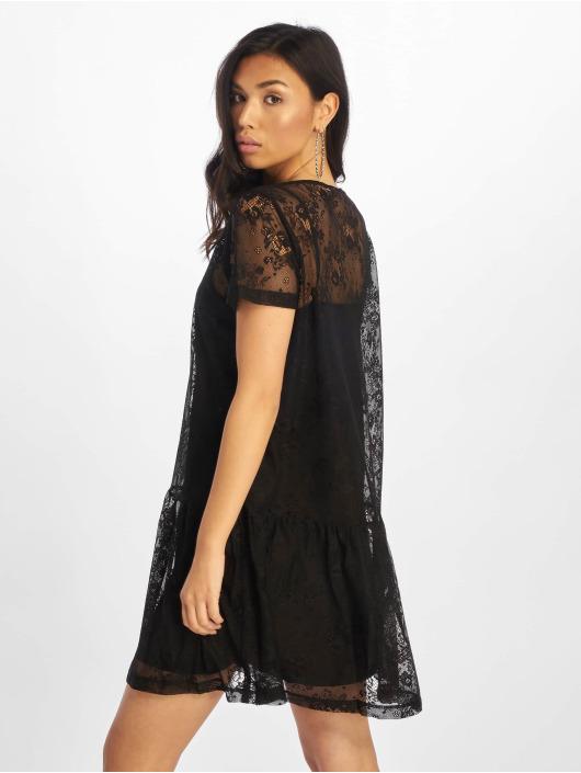 NA-KD Kleid Ruffle Hem Mini Lace schwarz