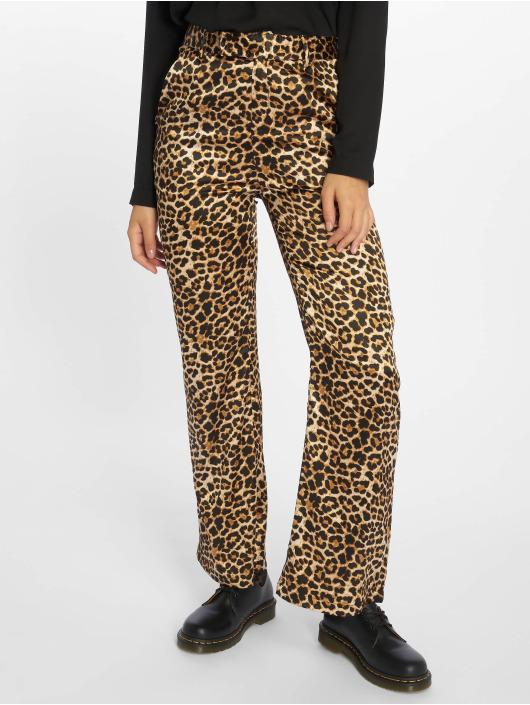 NA-KD Látkové kalhoty Flared Shiny Leo hnědý