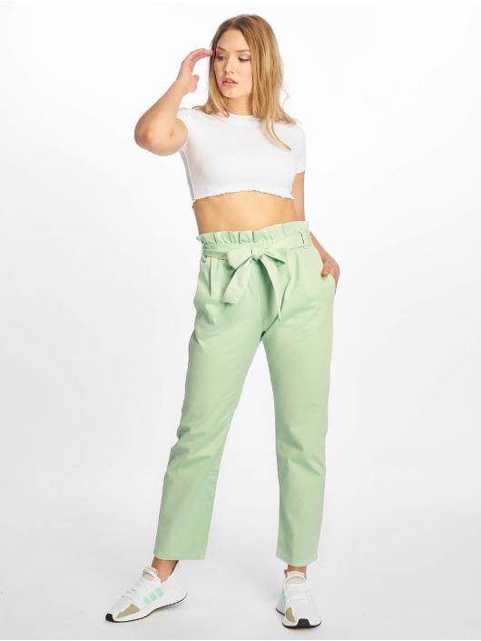 NA-KD Látkové kalhoty Paper Bag zelený