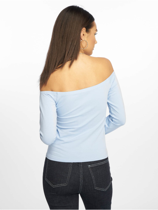 NA-KD Långärmat Cropped Off Shoulder blå